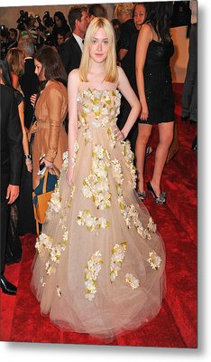 Dakota Fanning Wearing A Dress Metal Print by Everett