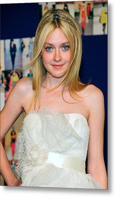 Dakota Fanning Wearing Marchesa Dress Metal Print by Everett