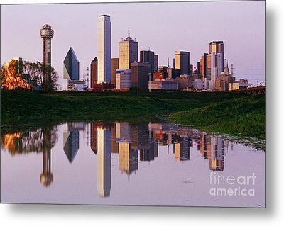 Dallas Skyline Reflected In Pond At Dusk Metal Print