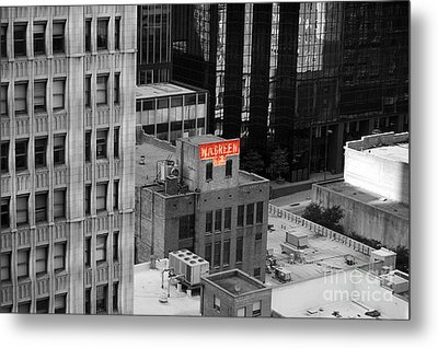 Metal Print featuring the photograph Dallas Texas Red Color Splash Black And White by Shawn O'Brien