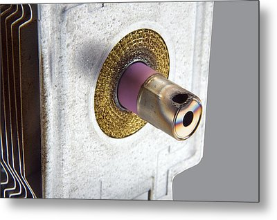 Damaged Microwave Oven Waveguide Metal Print by Sheila Terry
