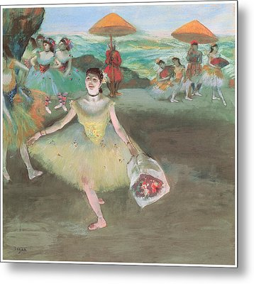 Dancer With A Bouquet Bowing Metal Print by Edgar Degas