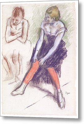 Dancer With Red Stockings Metal Print by Edgar Degas