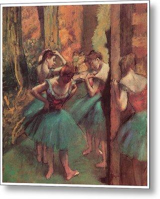 Dancers Pink And Green Metal Print by Edgar Degas