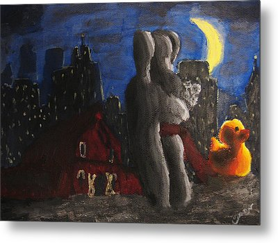 Metal Print featuring the painting Dancing Figures With Barn Duck And Cityscape Under The Moonlight.  by M Zimmerman