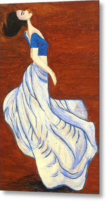 Dancing Girl -acrylic Painting Metal Print by Rejeena Niaz