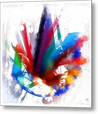 Dancing Peacock Metal Print by Greta Thorsdottir