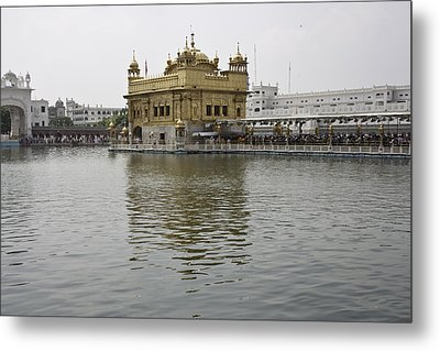 Darbar Sahib And Sarovar Inside The Golden Temple Metal Print