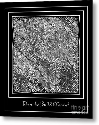 Dare To Be Different - Black And White Abstract Metal Print by Carol Groenen