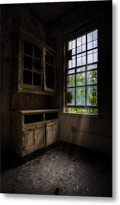 Dark And Empty Cabinets Metal Print by Gary Heller