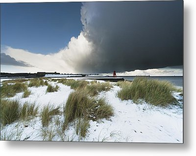 Dark Clouds And Blue Sky Over A Red Metal Print by John Short