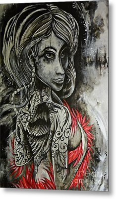 Metal Print featuring the painting Dark Inked Icon by Sandro Ramani