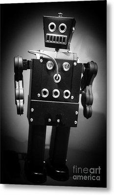 Dark Metal Robot Metal Print by Edward Fielding