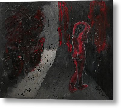 Metal Print featuring the painting Dark Raining Brooding Alley Chick by M Zimmerman