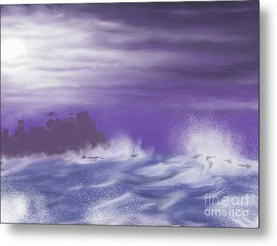 Metal Print featuring the painting Darkcastlemoon by Roxy Riou