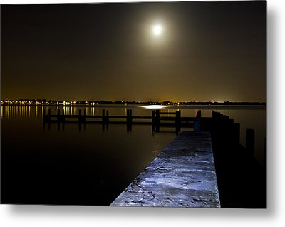 Darkness On The Bradenton Bay Metal Print by Nicholas Evans