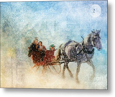 Dashing Through The Snow  Metal Print by Elaine Manley