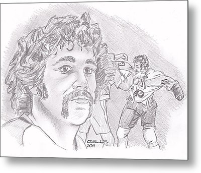 Metal Print featuring the drawing Dave Schultz- The Hammer by Chris  DelVecchio