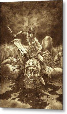 David And Goliath Metal Print by Amiri Bennett