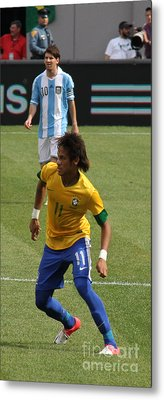David And Goliath Lionel Messi And Neymar Junior Metal Print by Lee Dos Santos
