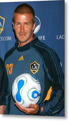 David Beckham At The Press Conference Metal Print by Everett