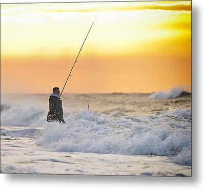 Dawn Fishing Metal Print by Vicki Jauron