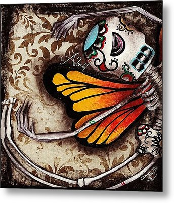 Day Of The Dead Butterfly By Metal Print