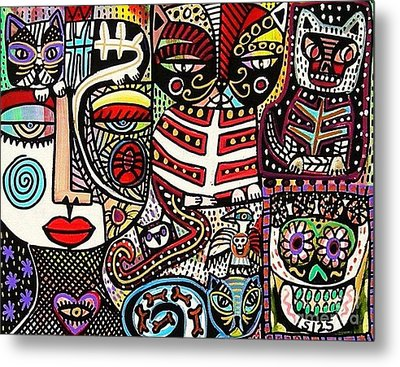 Day Of The Dead Cats Metal Print by Sandra Silberzweig