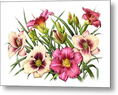 Daylily Bouquet - Rubies Metal Print by Artellus Artworks