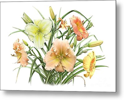 Daylily Bouquet Metal Print by Artellus Artworks