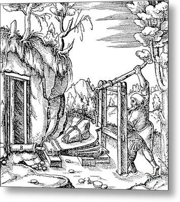 De Re Metallica, Bellows, 16th Century Metal Print by Science Source