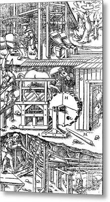 De Re Metallica, Ventilation Of Mines Metal Print by Science Source
