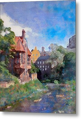 Metal Print featuring the painting Dean Village Edinburgh by Richard James Digance