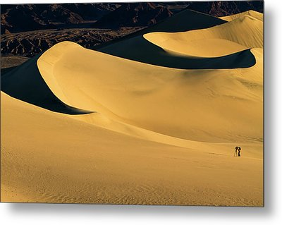 Death Valley And Photographer In Morning Sun Metal Print by William Lee