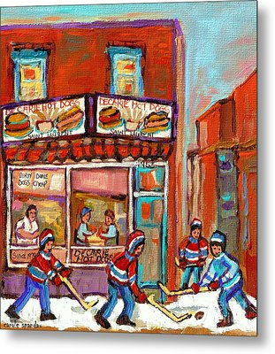 Decarie Hot Dog Montreal Restaurant Paintings Ville St Laurent Streets Of Montreal Paintings Metal Print by Carole Spandau
