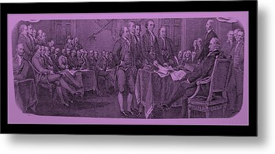 Declaration Of Independence In Pink Metal Print by Rob Hans