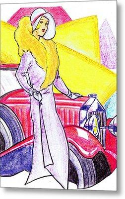 Deco Lady With Auto Metal Print