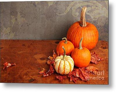 Decorative Fall Pumpkins Metal Print