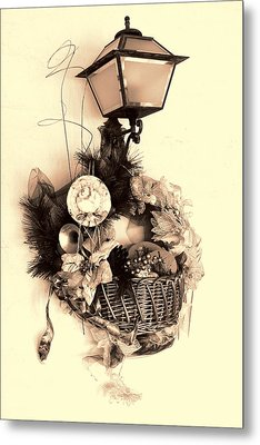 Decorative Holiday Basket With Lamp Metal Print by Linda Phelps