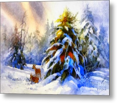 Deer In The Snowy Woods Metal Print by Elizabeth Coats