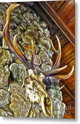Metal Print featuring the painting Deer Skull by Gregory Dyer