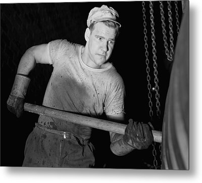 Defense Worker At The Goodrich Rubber Metal Print by Everett
