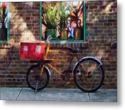 Delivery Bicycle Greenwich Village Metal Print by Susan Savad