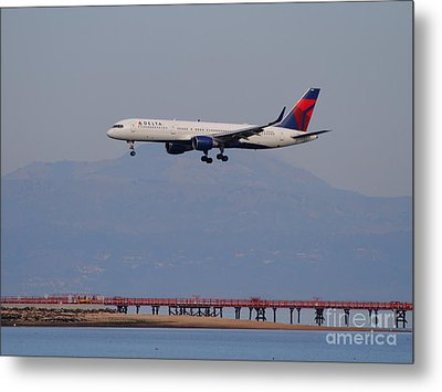 Delta Airlines Jet Airplane At San Francisco International Airport Sfo . 7d12182 Metal Print by Wingsdomain Art and Photography