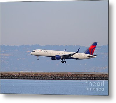 Delta Airlines Jet Airplane At San Francisco International Airport Sfo . 7d12183 Metal Print by Wingsdomain Art and Photography