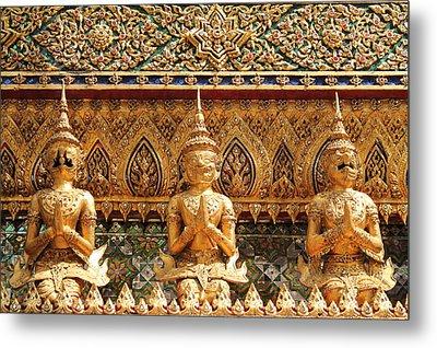 Demon Guardian Statues At Wat Phra Kaew Metal Print