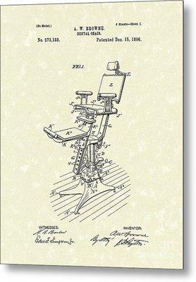 Dental Chair 1896 Patent Art Metal Print by Prior Art Design