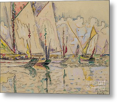 Departure Of Tuna Boats At Groix Metal Print by Paul Signac