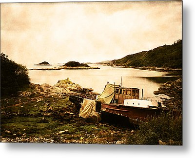 Derelict Boat In Outer Hebrides Metal Print by Jasna Buncic