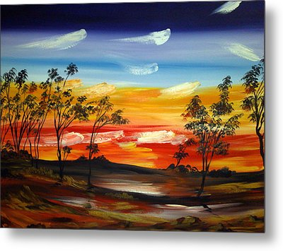 Metal Print featuring the painting Desert Fire by Roberto Gagliardi